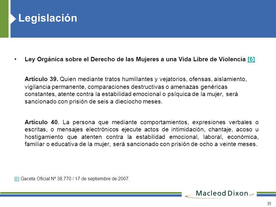 Legislación Ley Orgánica sobre el Derecho de las Mujeres a una Vida Libre de Violencia [6]